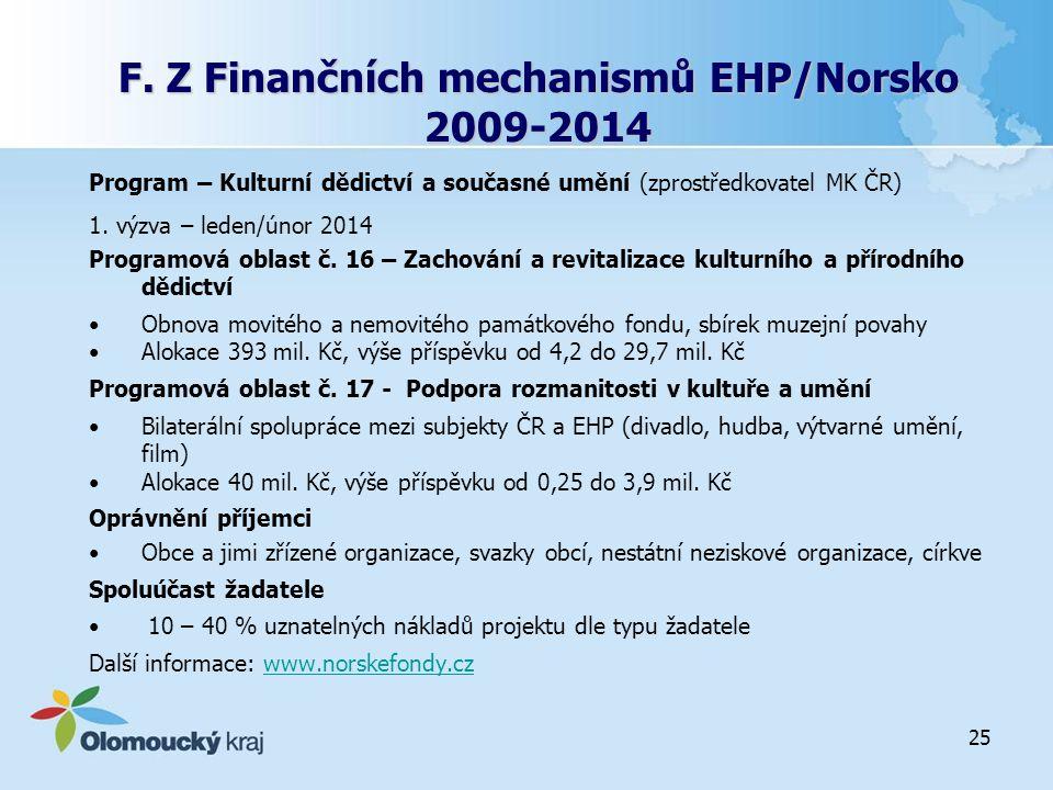 F. Z Finančních mechanismů EHP/Norsko 2009-2014