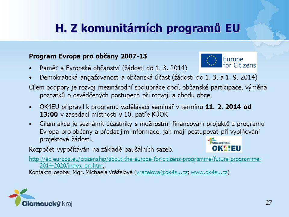 H. Z komunitárních programů EU