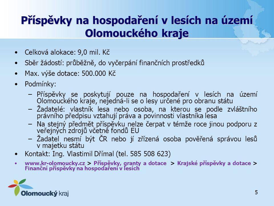 Příspěvky na hospodaření v lesích na území Olomouckého kraje