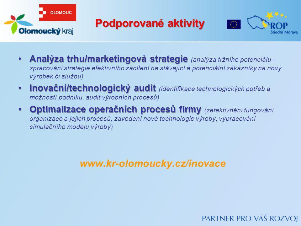 Podporované aktivity www.kr-olomoucky.cz/inovace