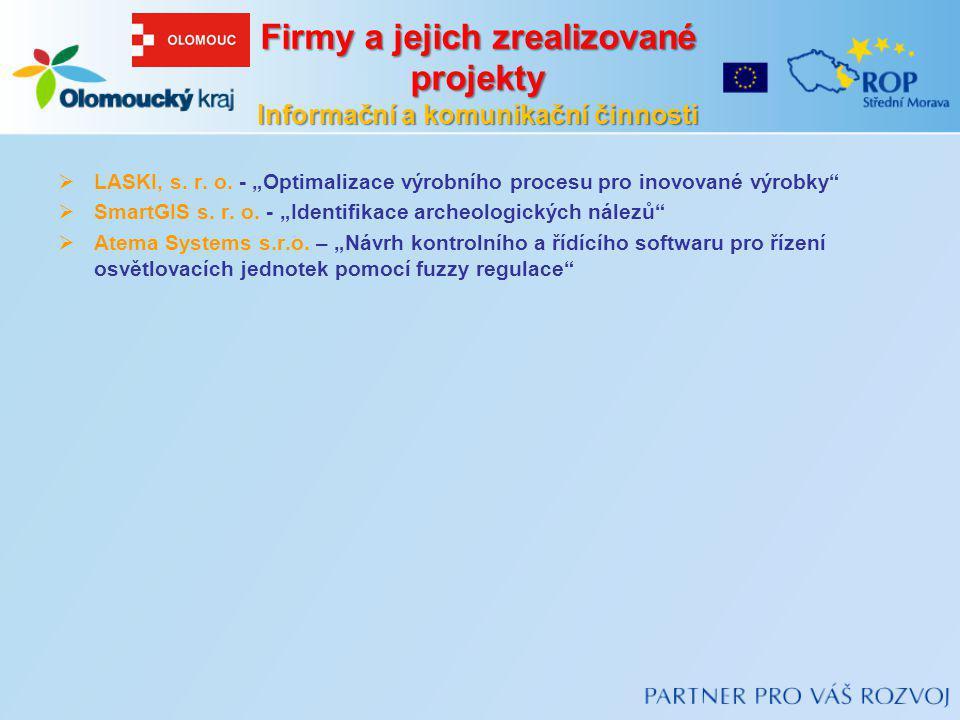 Firmy a jejich zrealizované projekty Informační a komunikační činnosti