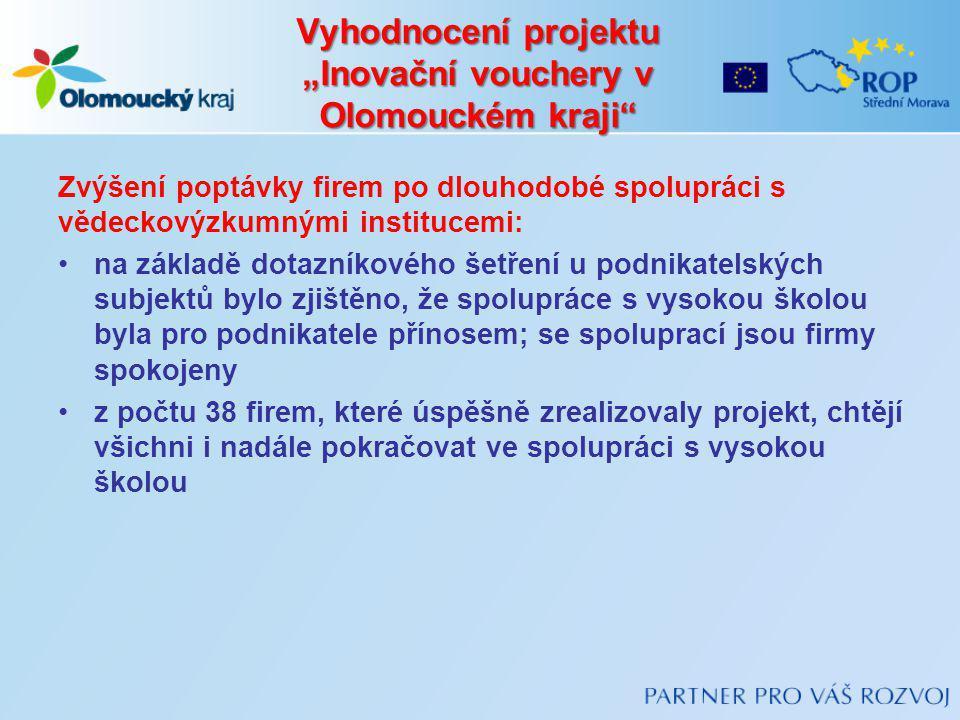 """Vyhodnocení projektu """"Inovační vouchery v Olomouckém kraji"""