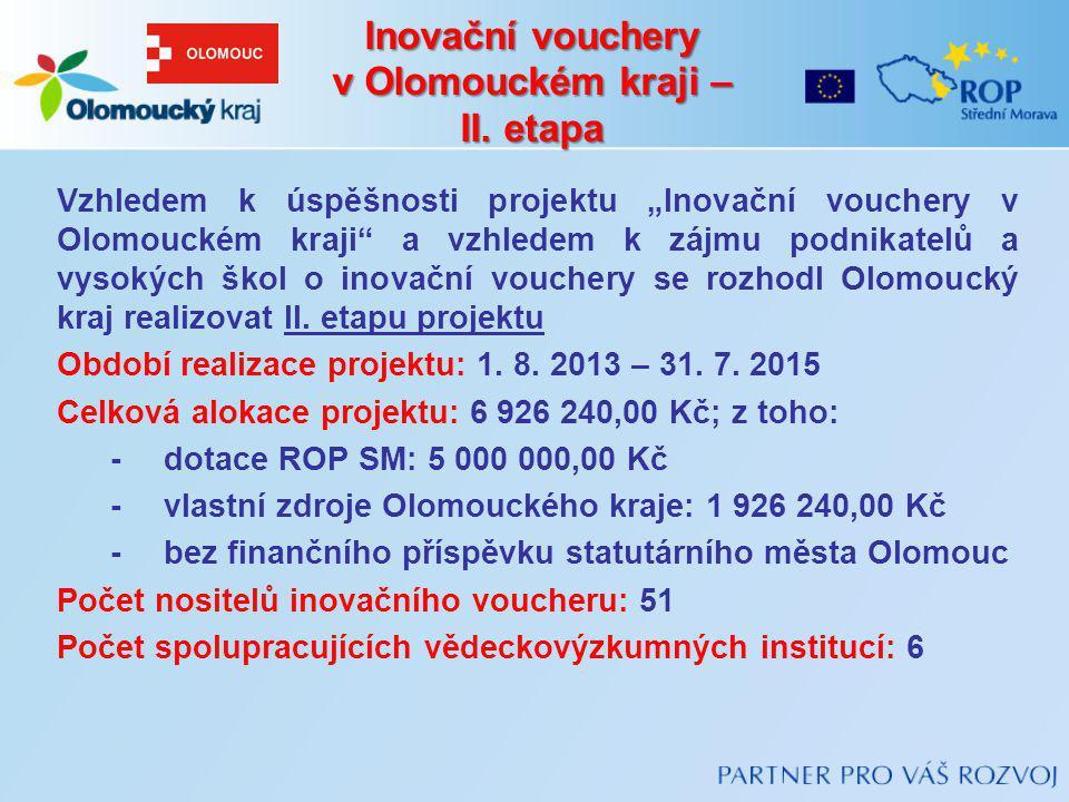 Inovační vouchery v Olomouckém kraji – II. etapa