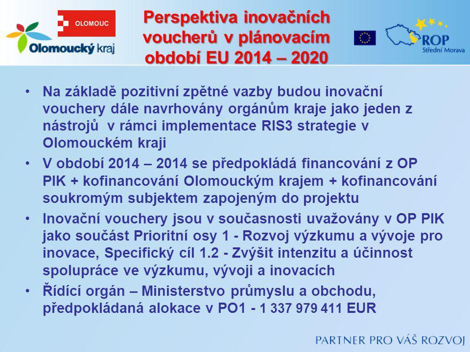 Perspektiva inovačních voucherů v plánovacím období EU 2014 – 2020