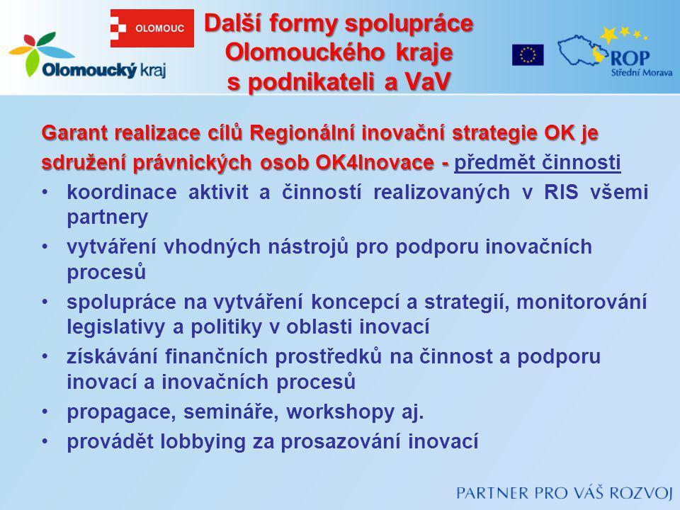Další formy spolupráce Olomouckého kraje s podnikateli a VaV
