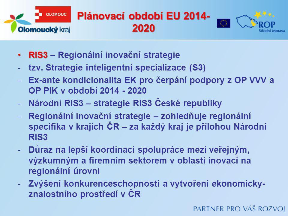 Plánovací období EU 2014-2020 RIS3 – Regionální inovační strategie