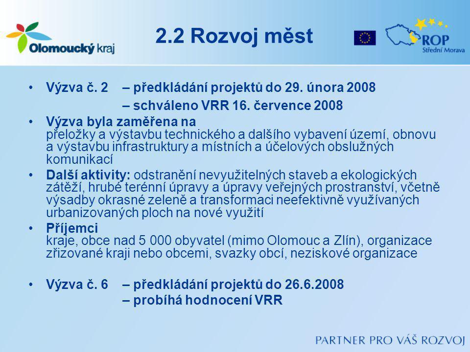 2.2 Rozvoj měst Výzva č. 2 – předkládání projektů do 29. února 2008