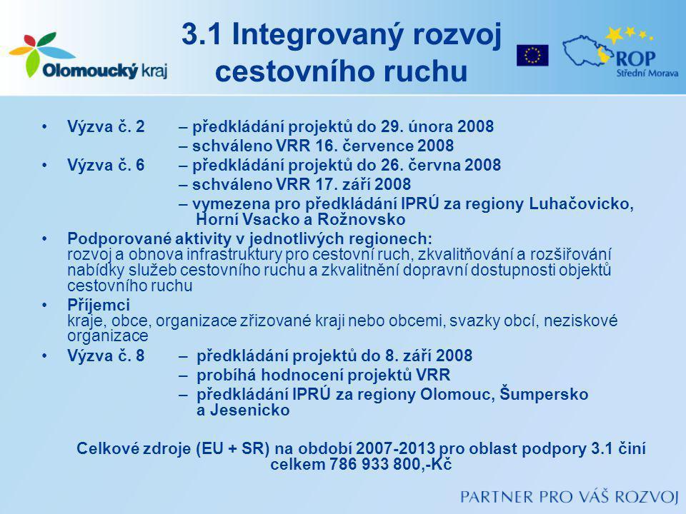 3.1 Integrovaný rozvoj cestovního ruchu