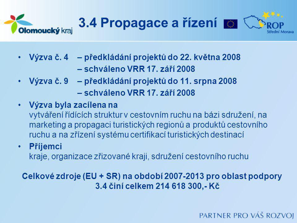 3.4 Propagace a řízení Výzva č. 4 – předkládání projektů do 22. května 2008. – schváleno VRR 17. září 2008.