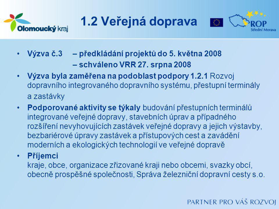 1.2 Veřejná doprava Výzva č.3 – předkládání projektů do 5. května 2008