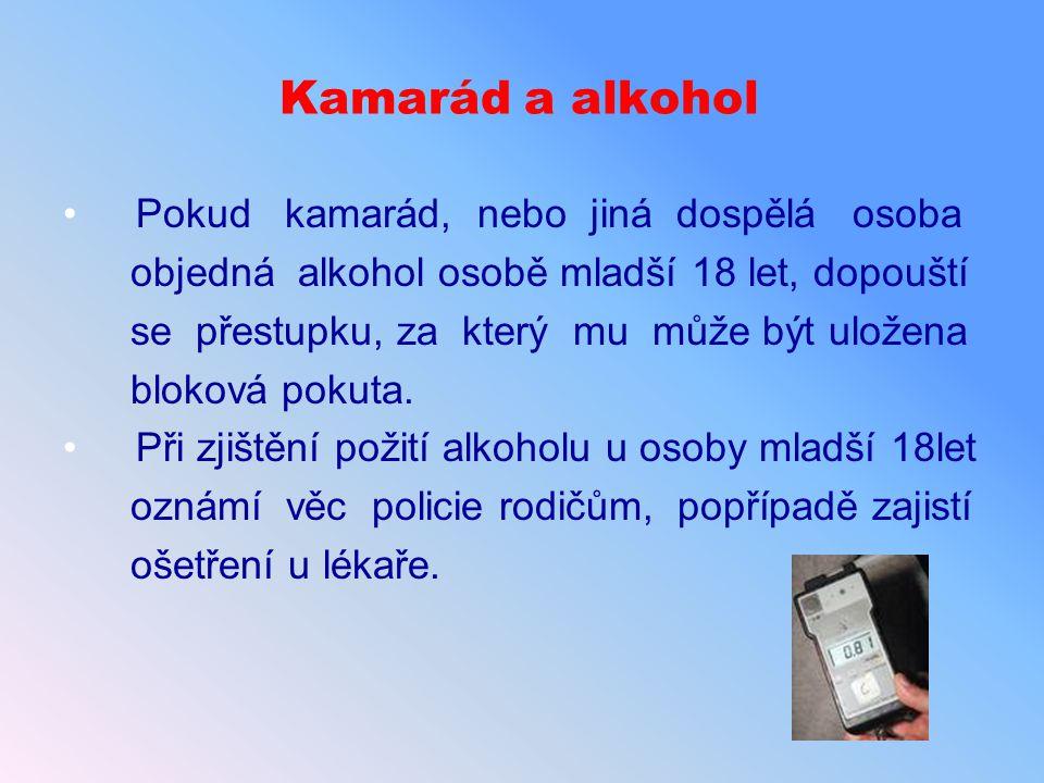 Kamarád a alkohol Pokud kamarád, nebo jiná dospělá osoba