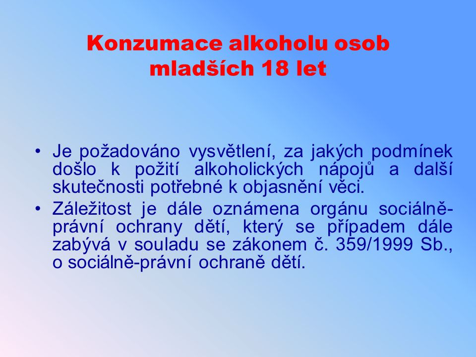 Konzumace alkoholu osob mladších 18 let