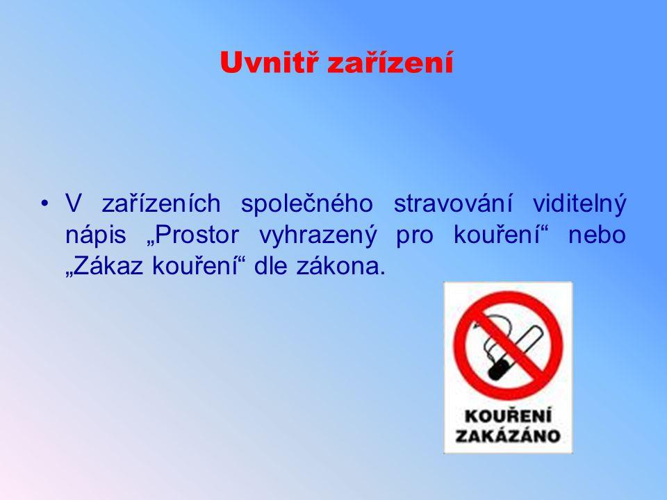 """Uvnitř zařízení V zařízeních společného stravování viditelný nápis """"Prostor vyhrazený pro kouření nebo """"Zákaz kouření dle zákona."""