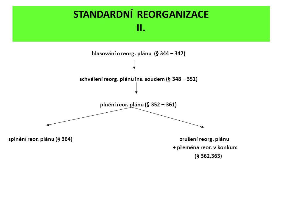 STANDARDNÍ REORGANIZACE II.