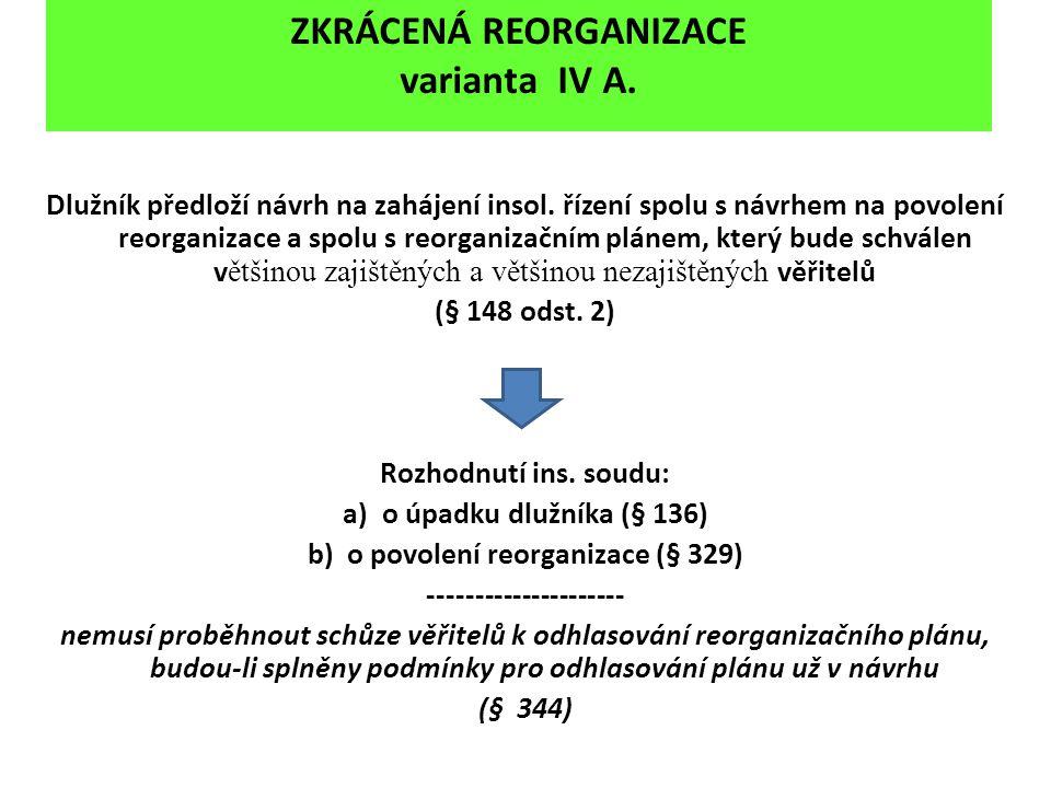 ZKRÁCENÁ REORGANIZACE varianta IV A.
