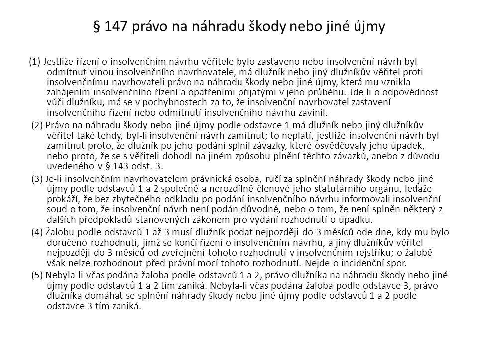 § 147 právo na náhradu škody nebo jiné újmy