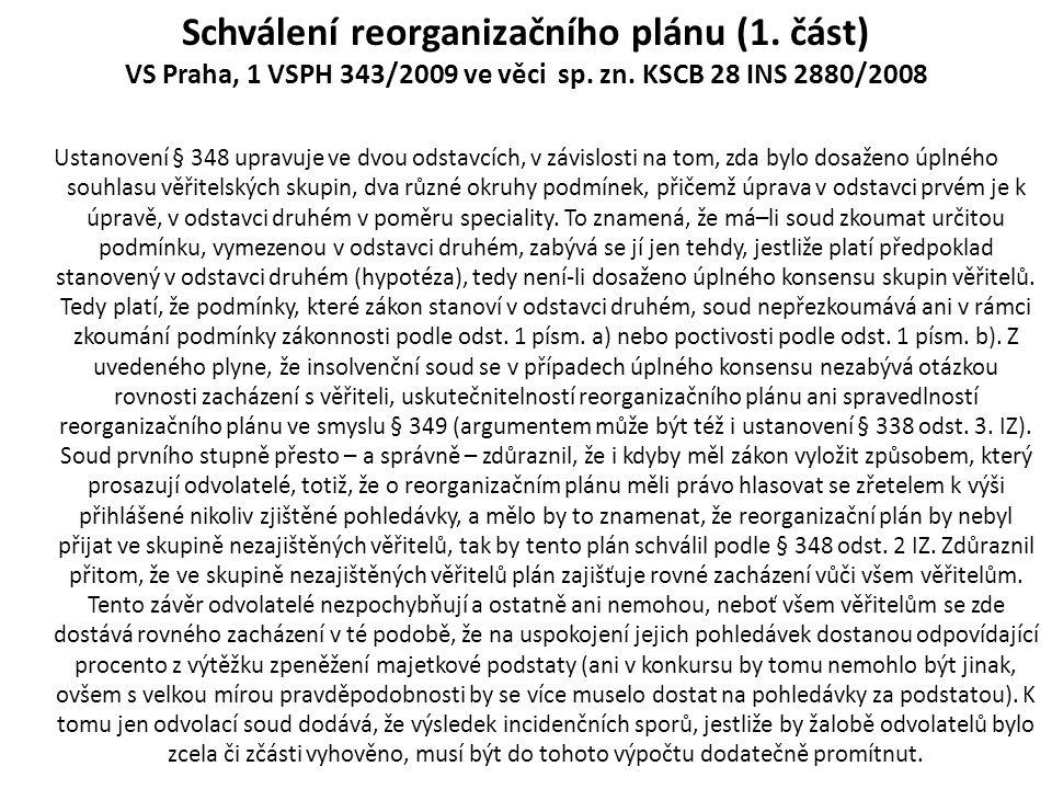Schválení reorganizačního plánu (1