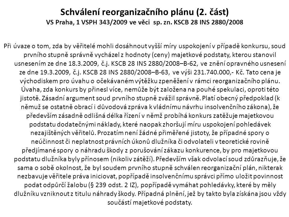 Schválení reorganizačního plánu (2