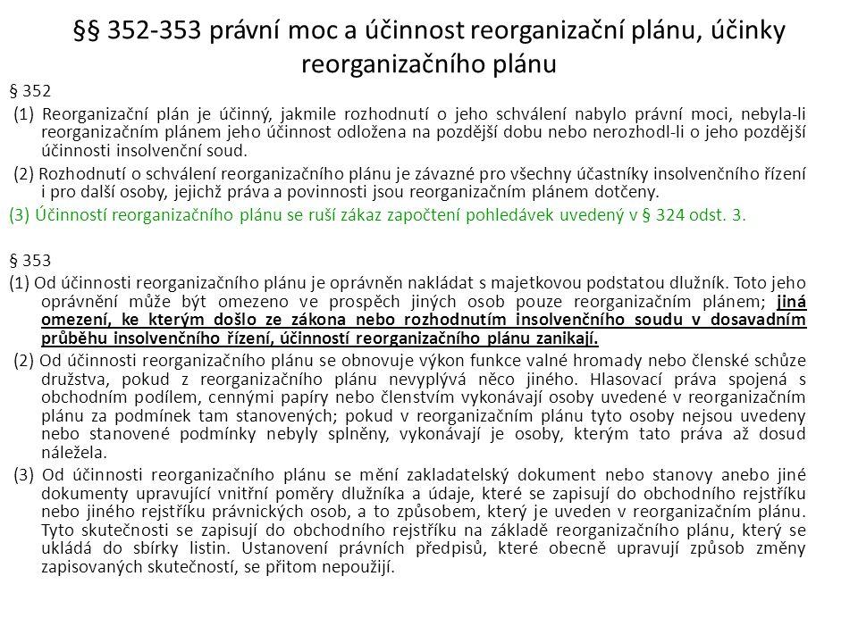 §§ 352-353 právní moc a účinnost reorganizační plánu, účinky reorganizačního plánu
