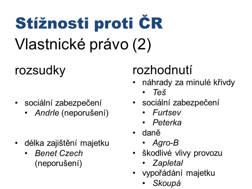 Stížnosti proti ČR Vlastnické právo (2) rozsudky rozhodnutí