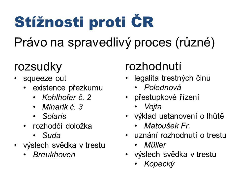 Stížnosti proti ČR Právo na spravedlivý proces (různé) rozsudky