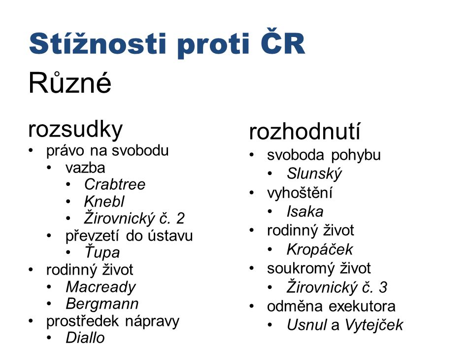 Stížnosti proti ČR Různé rozsudky rozhodnutí • právo na svobodu