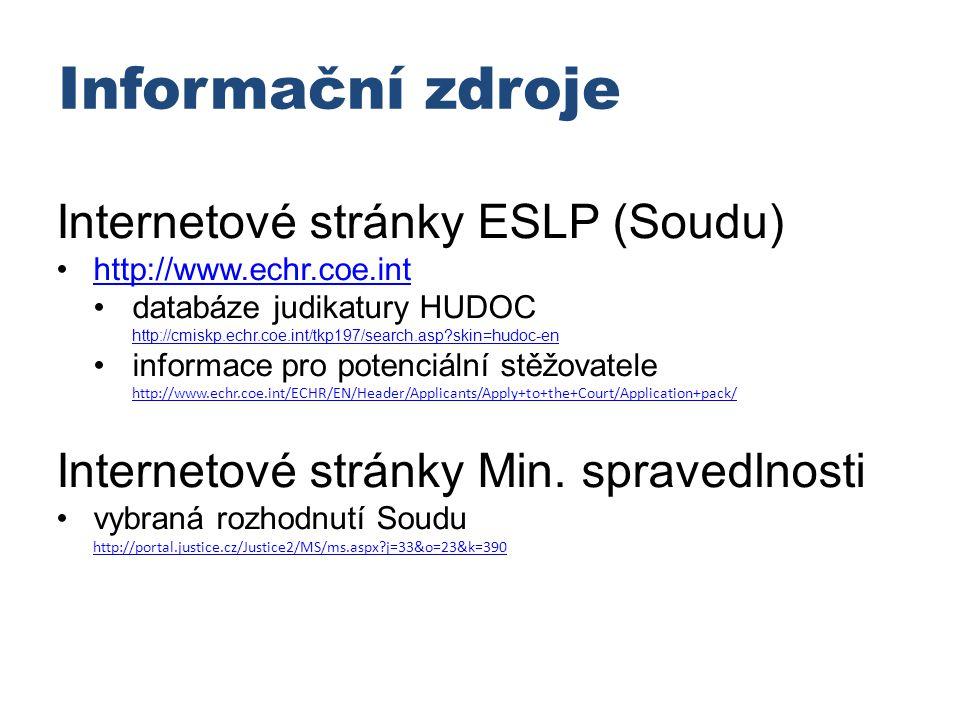 Informační zdroje Internetové stránky ESLP (Soudu)