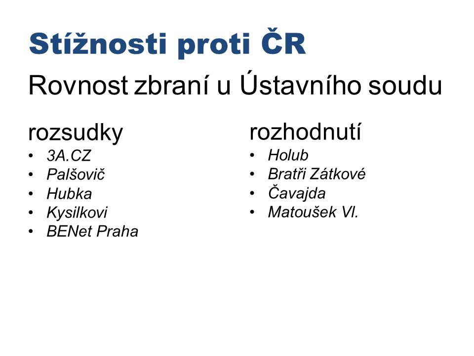 Stížnosti proti ČR Rovnost zbraní u Ústavního soudu rozsudky