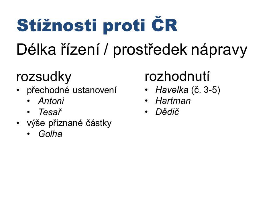Stížnosti proti ČR Délka řízení / prostředek nápravy rozsudky