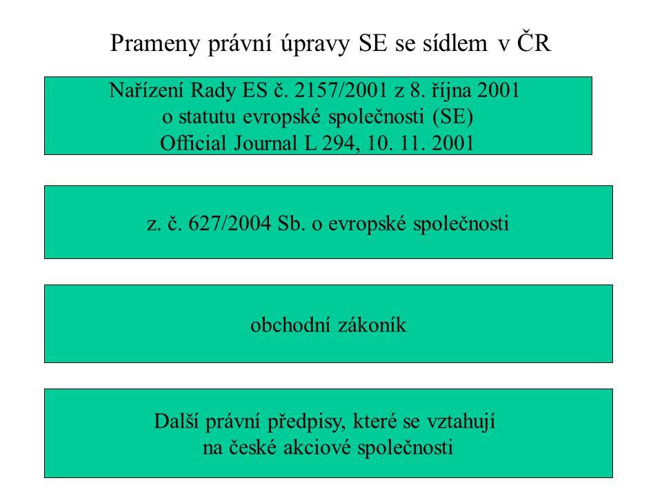 Prameny právní úpravy SE se sídlem v ČR