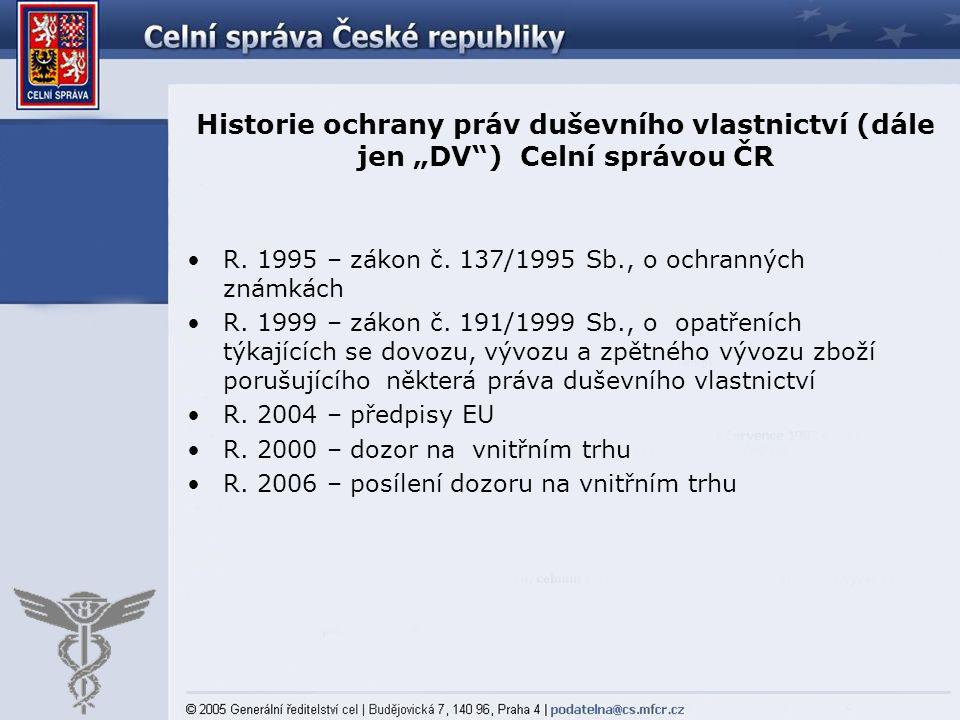 """Historie ochrany práv duševního vlastnictví (dále jen """"DV ) Celní správou ČR"""