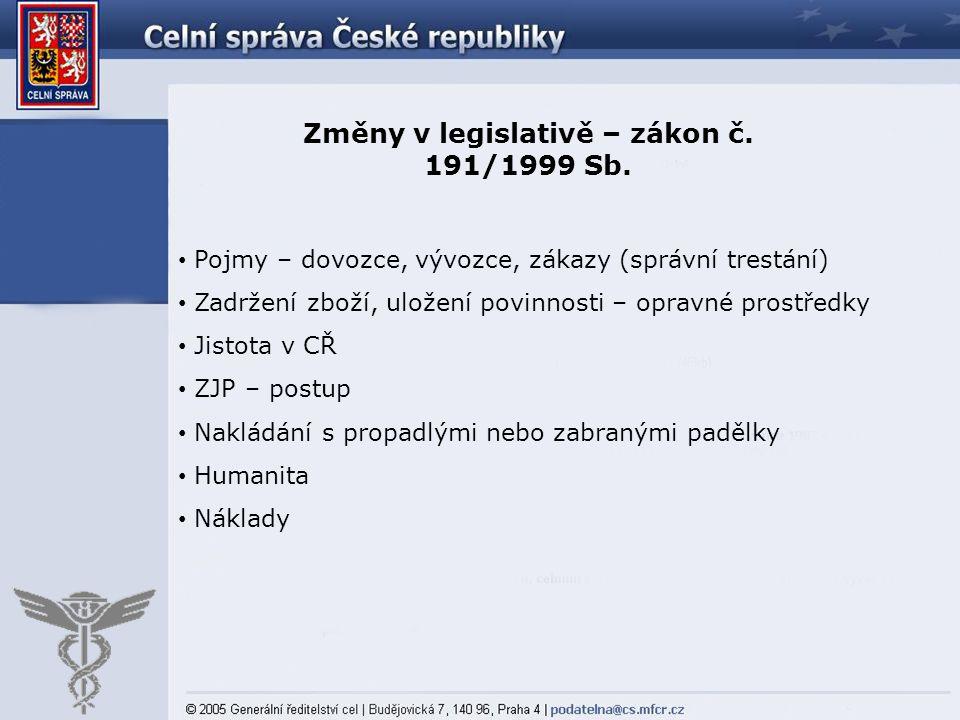 Změny v legislativě – zákon č. 191/1999 Sb.