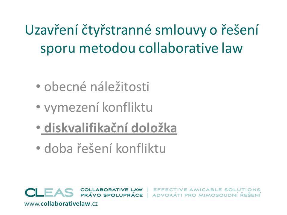 Uzavření čtyřstranné smlouvy o řešení sporu metodou collaborative law