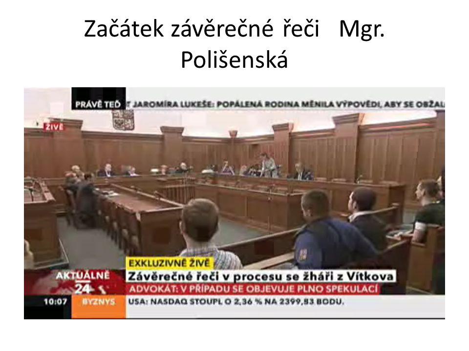 Začátek závěrečné řeči Mgr. Polišenská