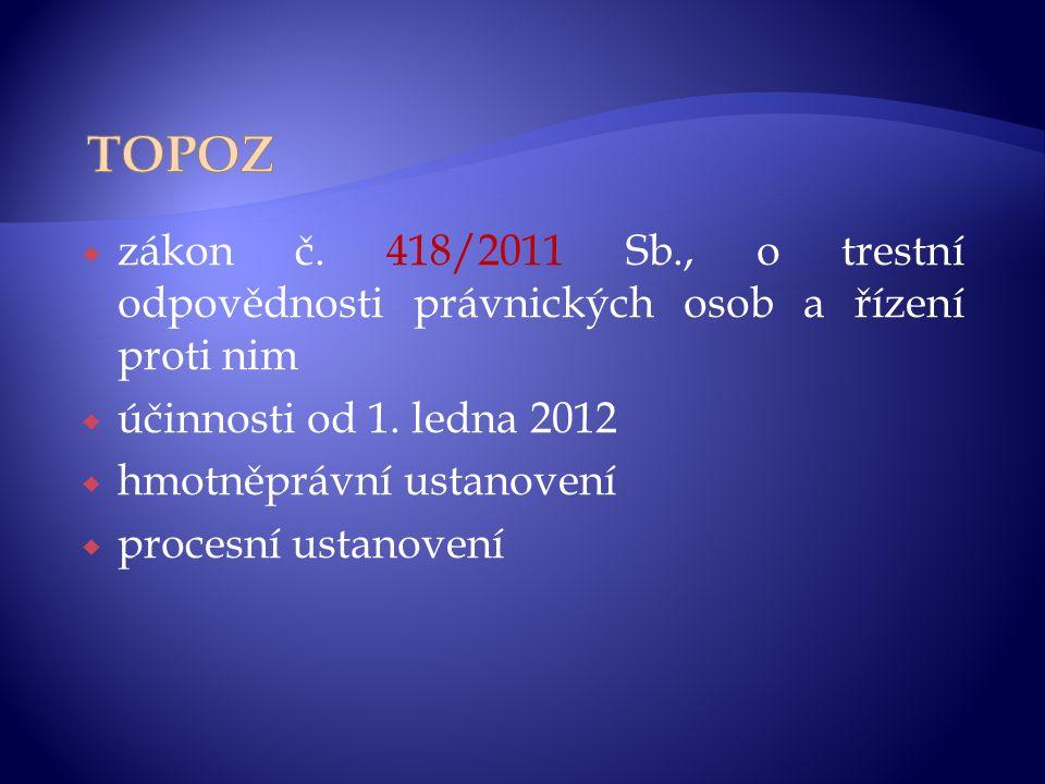 TOPOZ zákon č. 418/2011 Sb., o trestní odpovědnosti právnických osob a řízení proti nim. účinnosti od 1. ledna 2012.