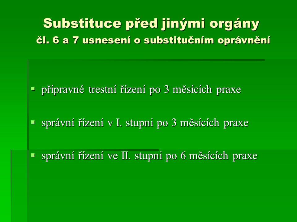 Substituce před jinými orgány čl