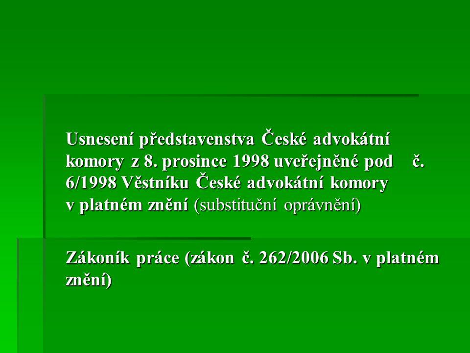 Usnesení představenstva České advokátní komory z 8