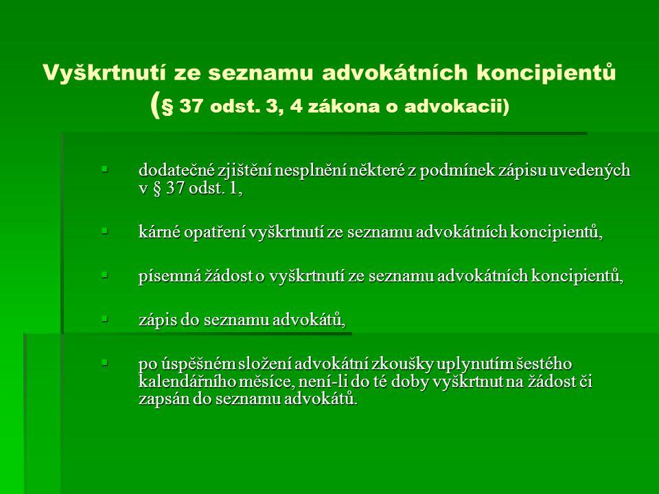 Vyškrtnutí ze seznamu advokátních koncipientů (§ 37 odst