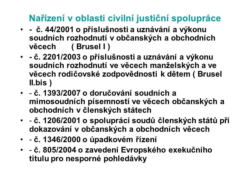 Nařízení v oblasti civilní justiční spolupráce