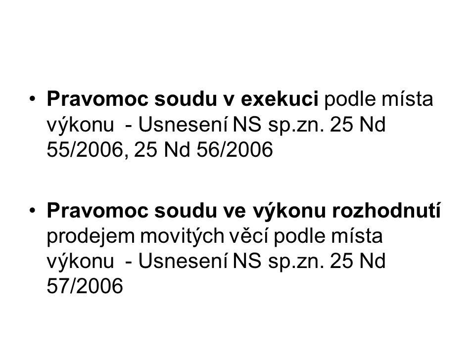 Pravomoc soudu v exekuci podle místa výkonu - Usnesení NS sp. zn