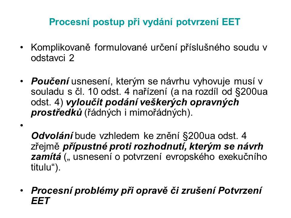 Procesní postup při vydání potvrzení EET