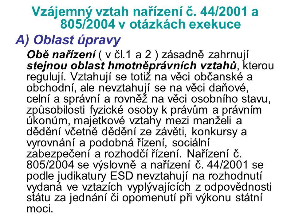 Vzájemný vztah nařízení č. 44/2001 a 805/2004 v otázkách exekuce