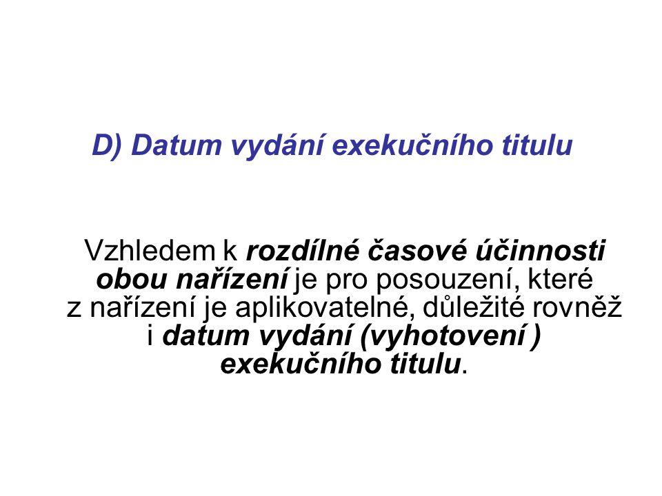 D) Datum vydání exekučního titulu