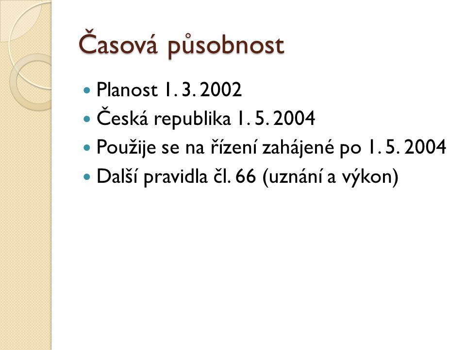 Časová působnost Planost 1. 3. 2002 Česká republika 1. 5. 2004