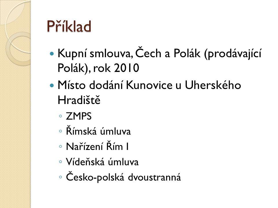 Příklad Kupní smlouva, Čech a Polák (prodávající Polák), rok 2010