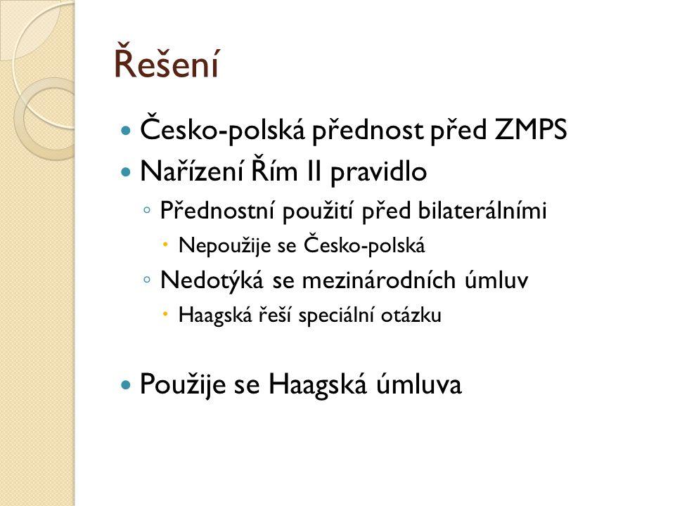 Řešení Česko-polská přednost před ZMPS Nařízení Řím II pravidlo