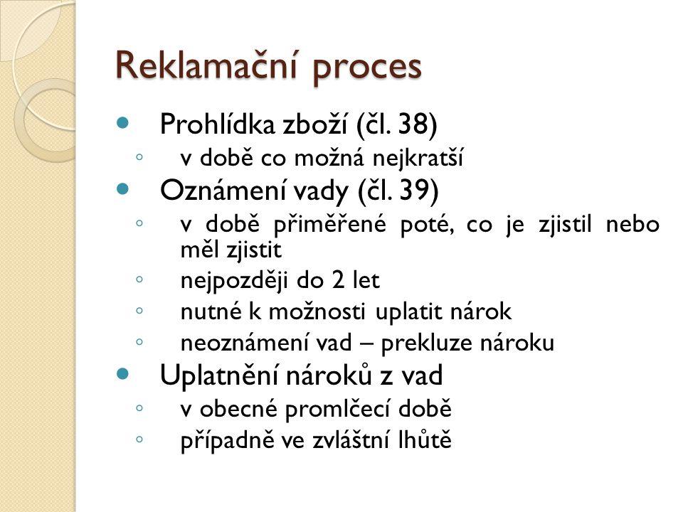 Reklamační proces Prohlídka zboží (čl. 38) Oznámení vady (čl. 39)