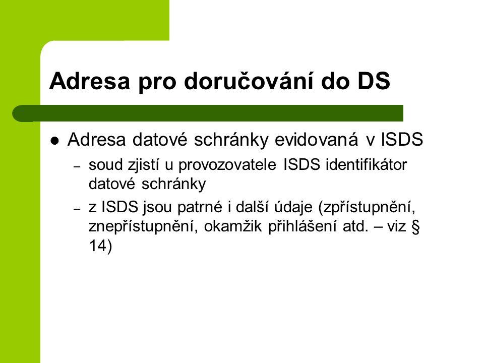 Adresa pro doručování do DS
