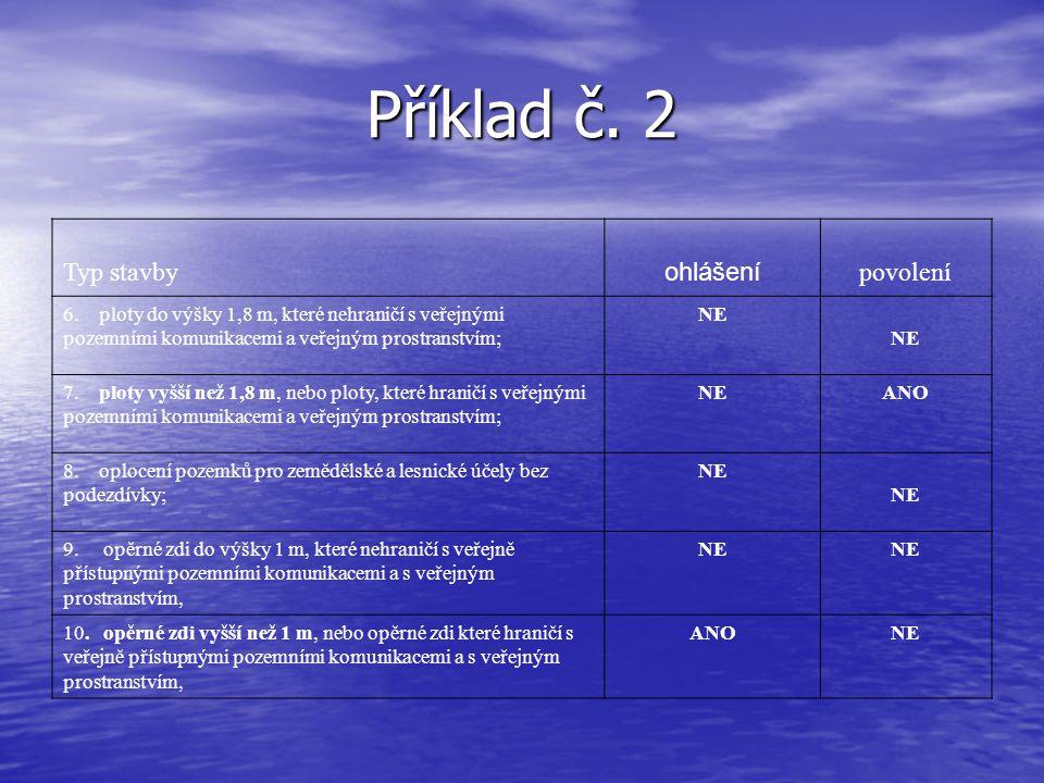 Příklad č. 2 Typ stavby ohlášení povolení