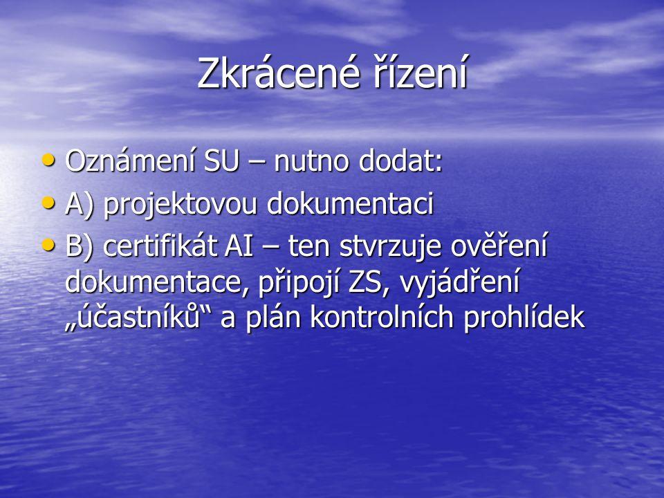 Zkrácené řízení Oznámení SU – nutno dodat: A) projektovou dokumentaci